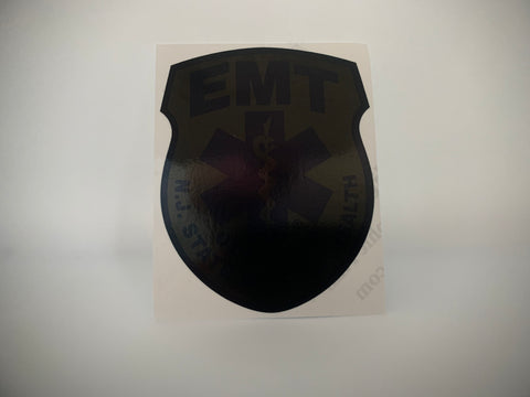 BLACKED OUT NEW JERSEY (NJ) EMERGENCY MEDICAL TECHNICIAN (EMT) PATCH WINDOW DECAL