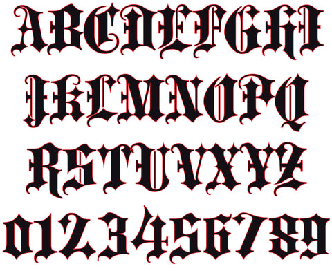 Blackletter Bold Reflective Letters & Numbers