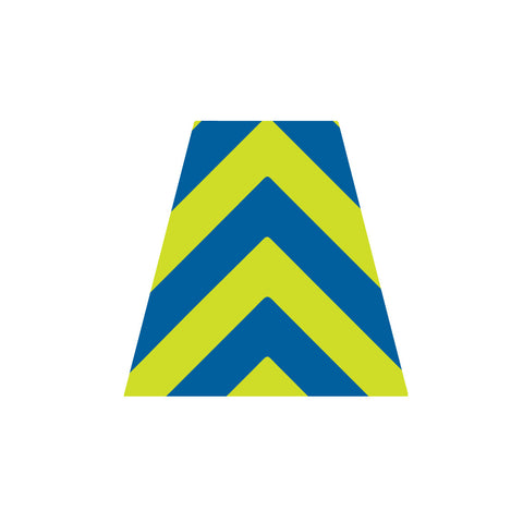 BLUE AND LIME GREEN CHEVRON REFLECTIVE HELMET (TET) TETRAHEDRON
