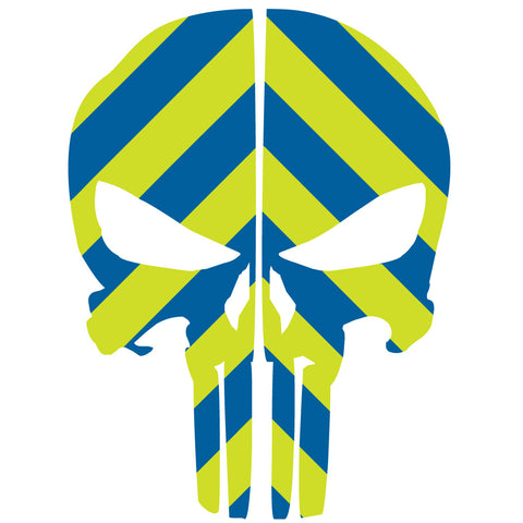 PUNISHER SKULL BLUE & LIME GREEN CHEVRON REAR HELMET REFLECTIVE HELMET DECAL