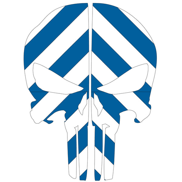 PUNISHER SKULL BLUE & WHITE CHEVRON REAR HELMET REFLECTIVE HELMET DECAL