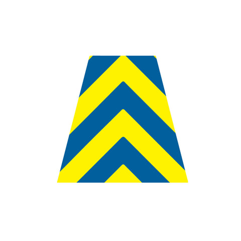 BLUE AND YELLOW CHEVRON REFLECTIVE HELMET (TET) TETRAHEDRON