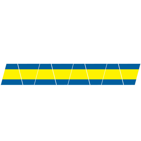 BLUE/YELLOW TRIPLE STRIPE REFLECTIVE HELMET (TET) TETRAHEDRON 8 PACK