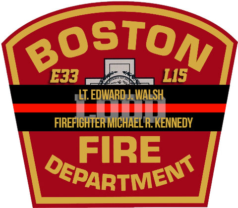 BOSTON LT WALSH FF KENNEDY LODD MEMORIAL WINDOW DECAL