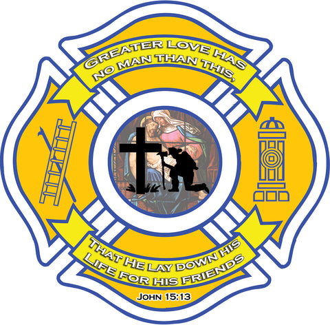 CHRISTIAN FIREFIGHTER WINDOW DECAL