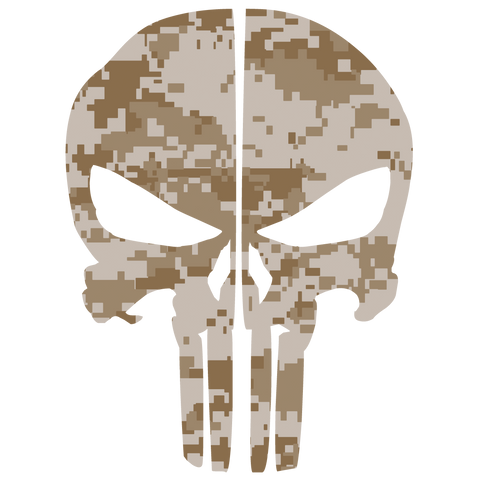 DESERT DIGITAL CAMO PUNISHER SKULL REAR HELMET REFLECTIVE HELMET DECAL