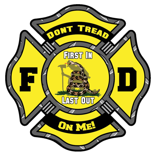 DON'T TREAD ON ME FIREFIGHTER MALTESE CROSS WINDOW DECAL