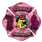 PINK CAMO FEMALE FIREFIGHTER MALTESE CROSS WINDOW DECAL