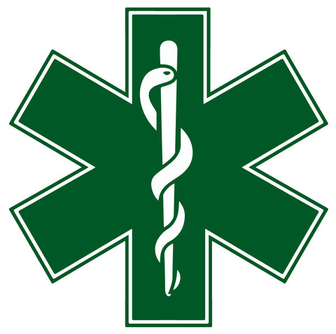 GREEN STAR OF LIFE REFLECTIVE HELMET DECAL