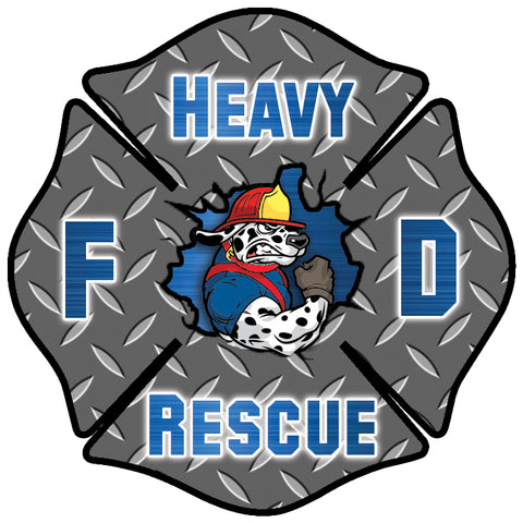 BLUE HEAVY RESCUE FIREFIGHTER WINDOW DECAL