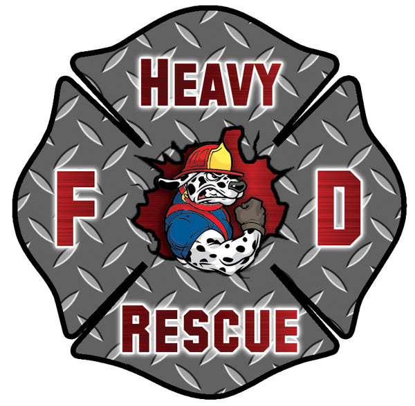 RED HEAVY RESCUE FIREFIGHTER WINDOW DECAL