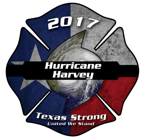 HURRICANE HARVEY TEXAS STRONG MALTESE CROSS WINDOW DECAL
