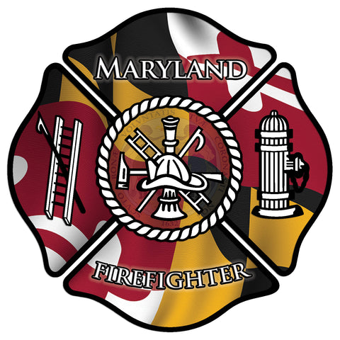 MARYLAND MALTESE CROSS FIREFIGHTER WINDOW DECAL