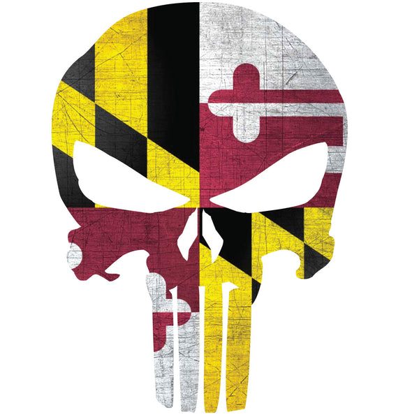 MARYLAND FLAG PUNISHER SKULL WINDOW DECAL