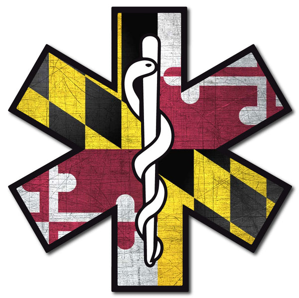MARYLAND FLAG STAR OF LIFE REFLECTIVE WINDOW DECAL