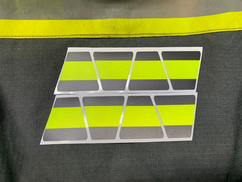 MATTE BLACK WITH MATTE FLUORESCENT YELLOW LINE TRIPLE STRIPE REFLECTIVE HELMET (TET) TETRAHEDRON 8 PACK