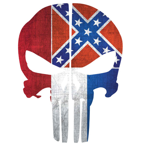 MISSISSIPPI FLAG PUNISHER SKULL REAR HELMET REFLECTIVE HELMET DECAL