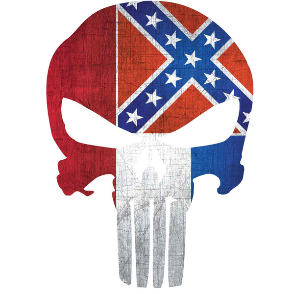 MISSISSIPPI FLAG PUNISHER SKULL WINDOW DECAL