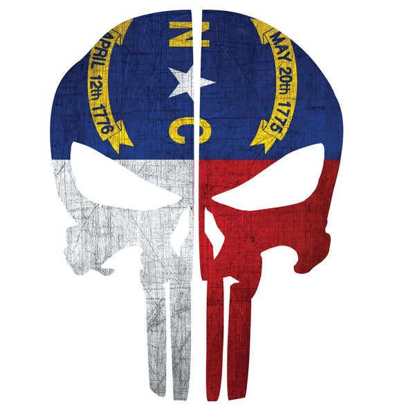 NORTH CAROLINA FLAG PUNISHER SKULL REAR HELMET REFLECTIVE HELMET DECAL