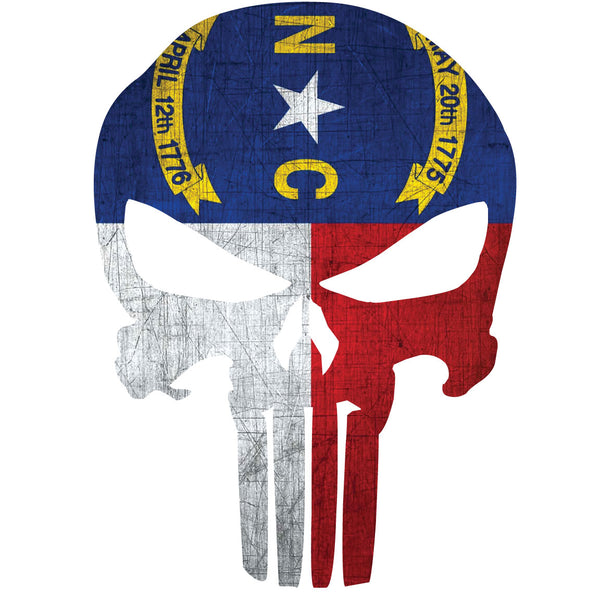 NORTH CAROLINA FLAG PUNISHER SKULL WINDOW DECAL