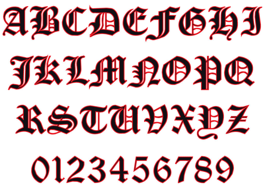 Reflective Old English Letters and Numbers Helmet Decal ... Old English Numbers Font