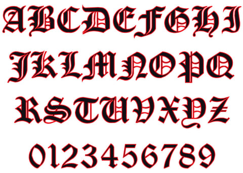 Old English Reflective Letters & Numbers