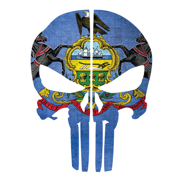 PENNSYLVANIA FLAG PUNISHER SKULL REAR HELMET REFLECTIVE HELMET DECAL