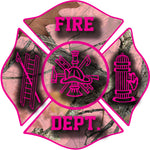 PINK CAMO FIREFIGHTER WINDOW DECAL