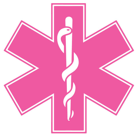 PINK STAR OF LIFE REFLECTIVE WINDOW DECAL