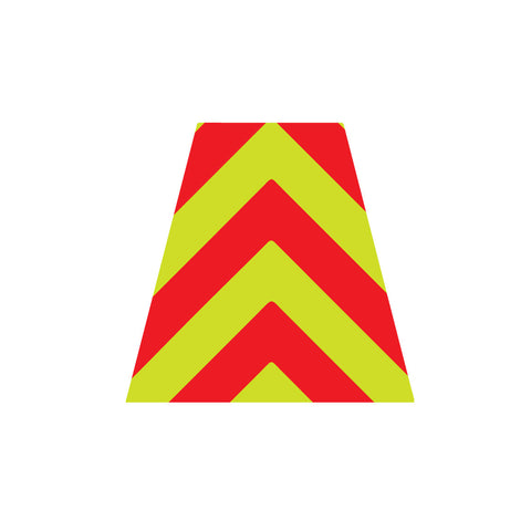 RED AND LIME GREEN CHEVRON REFLECTIVE HELMET (TET) TETRAHEDRON
