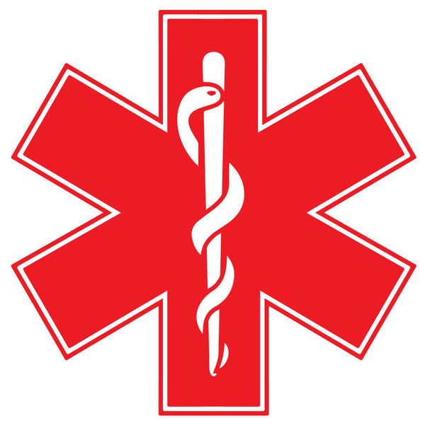 RED STAR OF LIFE REFLECTIVE WINDOW DECAL