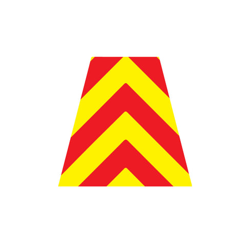 RED AND YELLOW CHEVRON REFLECTIVE HELMET (TET) TETRAHEDRON