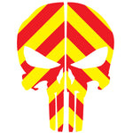 PUNISHER SKULL RED & YELLOW CHEVRON REAR HELMET REFLECTIVE HELMET DECAL