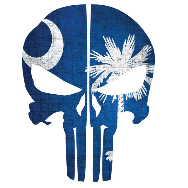 SOUTH CAROLINA FLAG PUNISHER SKULL REAR HELMET REFLECTIVE HELMET DECAL