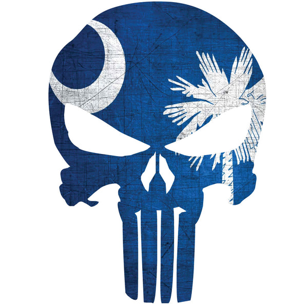 SOUTH CAROLINA FLAG PUNISHER SKULL WINDOW DECAL