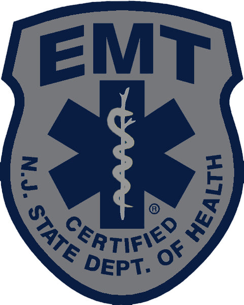 SUBDUED NEW JERSEY (NJ) EMERGENCY MEDICAL TECHNICIAN (EMT) PATCH WINDOW DECAL