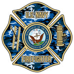 US NAVY CAMO FIREFIGHTER WINDOW DECAL