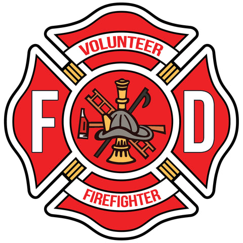 VOLUNTEER FIREFIGHTER MALTESE CROSS WINDOW DECAL