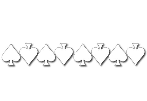 WHITE REFLECTIVE ACE OF SPADE HELMET DECAL 8 PACK