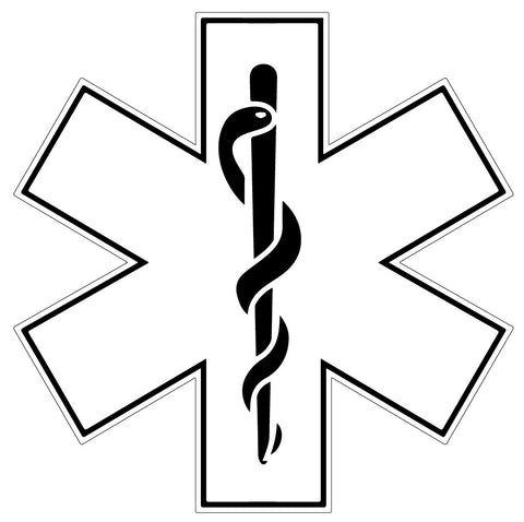 WHITE STAR OF LIFE REFLECTIVE HELMET DECAL