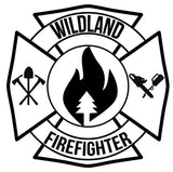 WILDLAND FIREFIGHTER MALTESE CROSS WINDOW DECAL