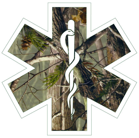 WOODS CAMO STAR OF LIFE REFLECTIVE HELMET DECAL