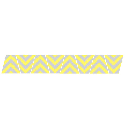YELLOW & GREY CHEVRON STRIPE REFLECTIVE HELMET (TET) TETRAHEDRON 8 PACK