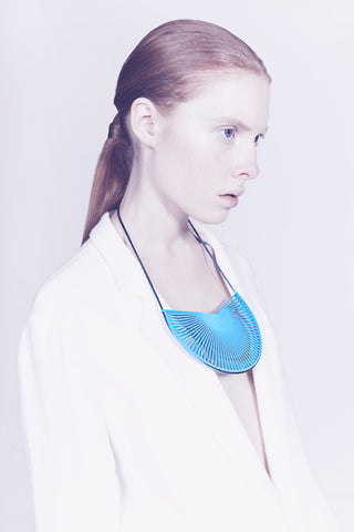 Lynne MacLachlan Statement 3D printed blue necklace
