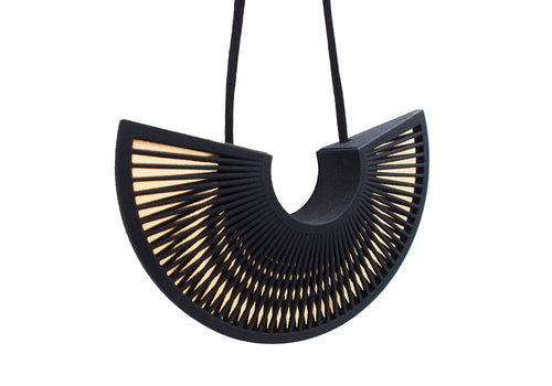 Phase Arc Necklace - Black & Gold