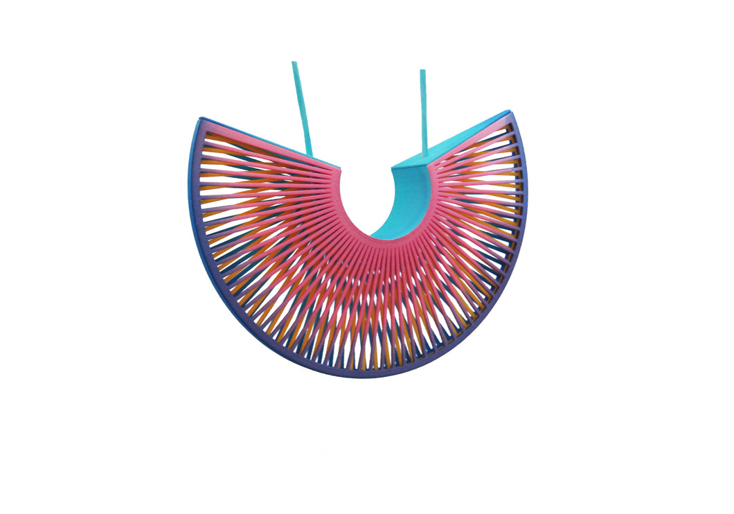 Phase Arc Statement Necklace - Pink/Turquoise/Yellow