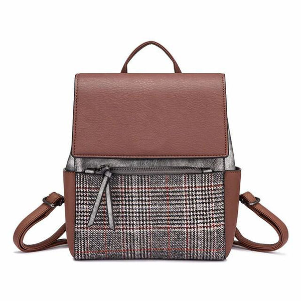Checkered Front Flap Backpack