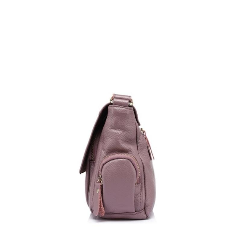 Zipper Flap Leather Shoulder Bag