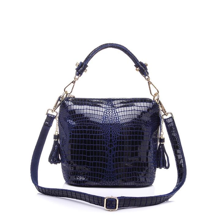 Serpentine Leather Shoulder Bag
