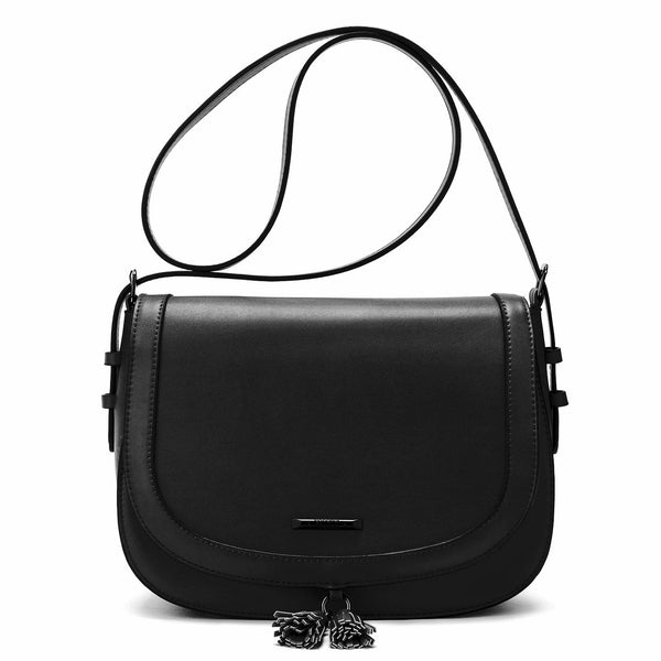 Flap With Tassel Solid Crossbody Bag